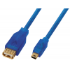 Шнур-переходник Luxmann гнездо USB A - штекер USB mini 5 pin, 0,3 метра, 460-021